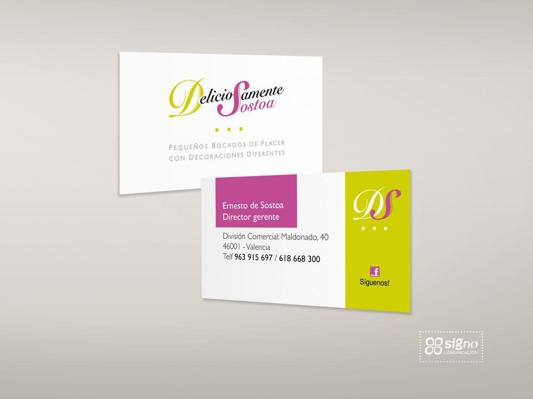 Deliciosamente Sostoa logotipo y tarjetas de visita